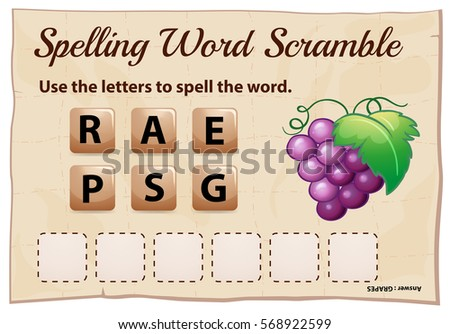 Spelling word scramble game template with word grapes illustration