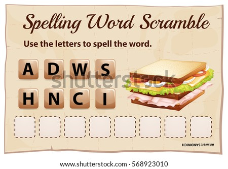 Spelling word scramble game template with word sandwich illustration