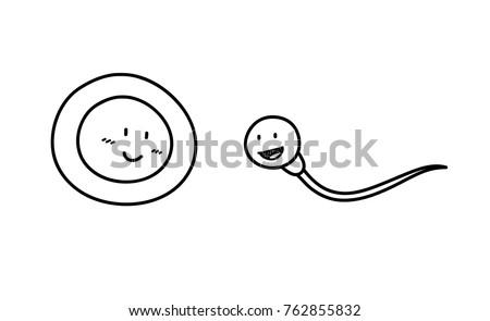 Sperm and Ovum Cartoon Doodle, a hand drawn vector doodle illustration of a sperm and an ovum.