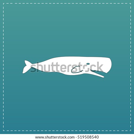 sperm whale white flat icon