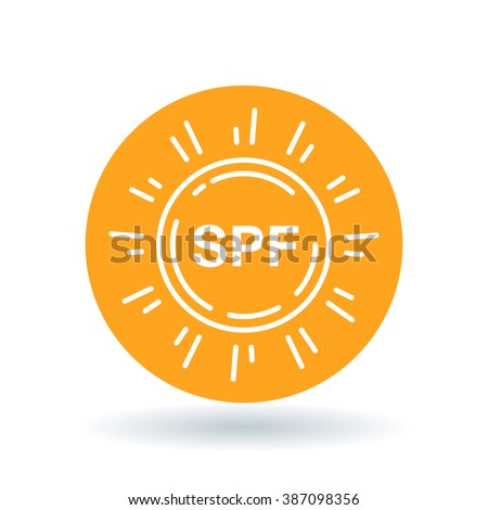 SPF icon. SPF sun screen symbol. UV ultra violet rays sun protection factor sign. White icon on orange circle background. Vector illustration.