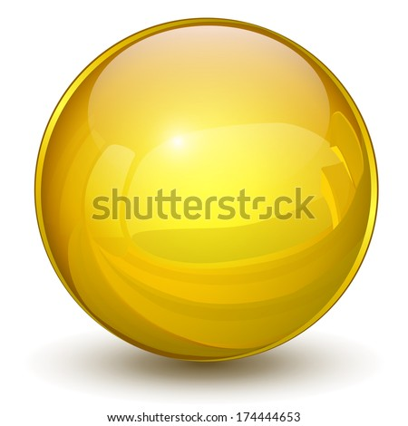 sphere 3d  glossy gold  yellow