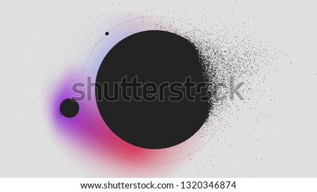 Sphere dissolves turning to dust on gradient background, abstract background Vector illustration for design of booklets and posters