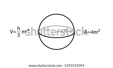 Sphere formulas vector. Geometry vector. Geometry formulas