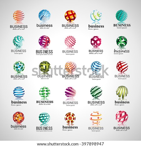 Sphere Icons Set-Isolated On Gray Background-Vector Illustration
