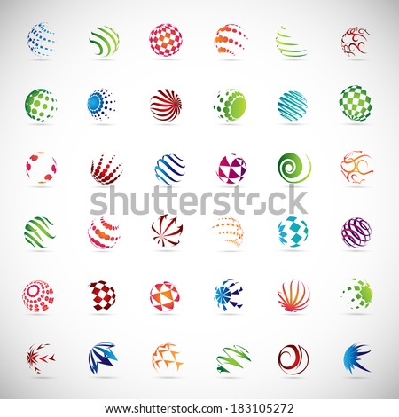 Sphere Icons Set - Isolated On Gray Background - Vector Illustration, Graphic Design Editable For Your Design, Flat Icons