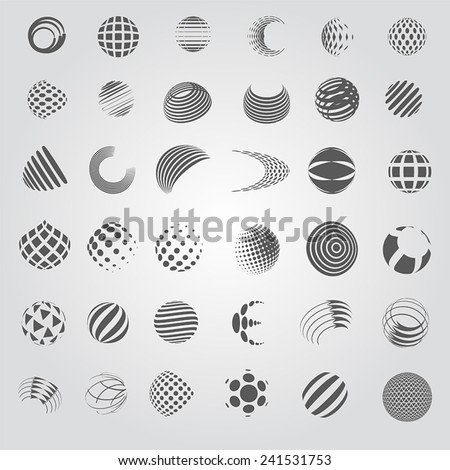 Sphere Icons Set - Isolated On Gray Background - Vector Illustration, Graphic Design Editable For Your Design