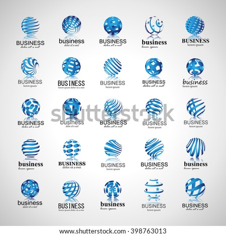 Sphere Icons Set-Isolated On Gray Background-Vector Illustration,Graphic Design.For Web,Websites,App,Print,Presentation Templates,Mobile Applications And Promotional Materials.Different Logotype