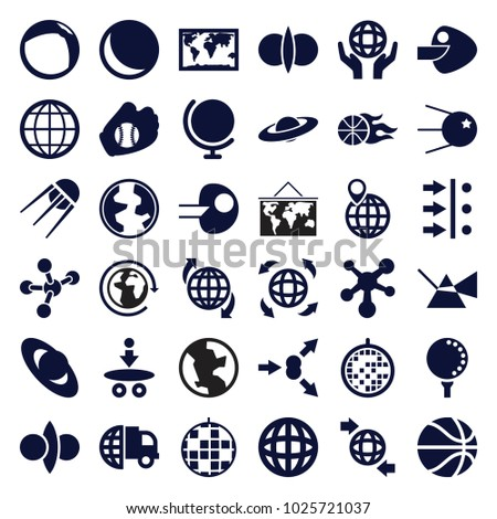 Sphere icons. set of 36 editable filled sphere icons such as international delivery, globe, planet, world map, intersection, sphere, disco ball, atom fusion, atom move, core