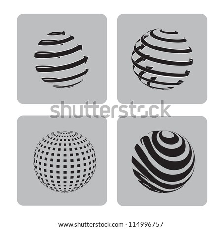 sphere in different ways over gray background vector illustration