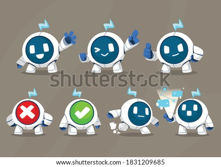 Sphere modern robot mascot set