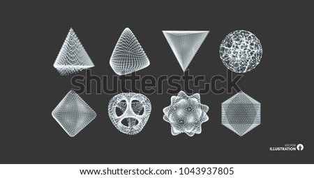 Sphere, octahedron and pyramid. Objects with lines and dots. Molecular grid. Vector illustration. 3d technology style. Futuristic connection structure for chemistry and science.