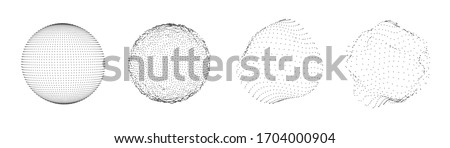 Sphere of dots or particles isolated on white color. Technology abstract art background. Collection of minimalistic geometric design sci-fi elements. Vector futuristic digital concept.