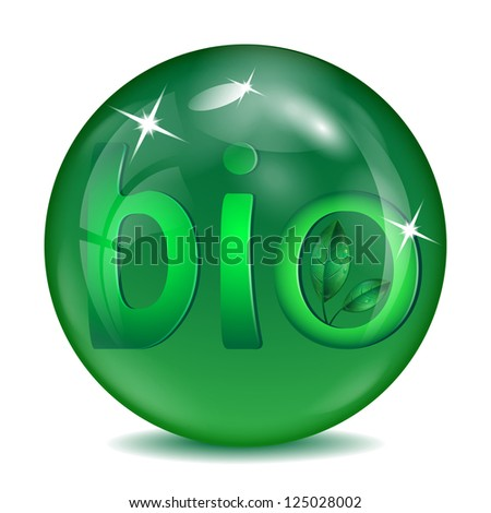 sphere of green color with green letters and leaves inwardly