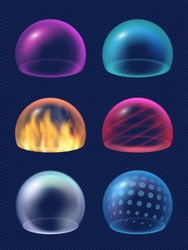 Sphere shield. Protective energy safety circles reflection geometrical transparent shapes decent vector realistic collection