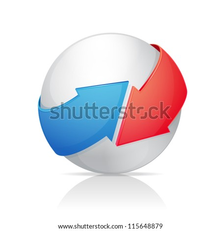 Sphere with Arrows - stock vector
