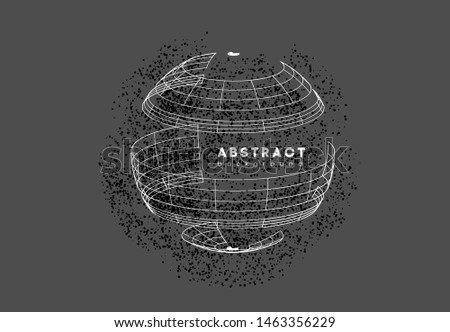 Sphere with connected lines, dots, points on gray background. Global digital connections with circle, round for cyberspace. Abstract 3d globe grid. Space wireframe technology style. Science networks.
