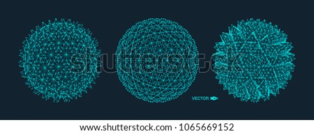 Sphere with connected lines. Global digital connections. Wireframe illustration. Abstract 3d grid design. Technology style.