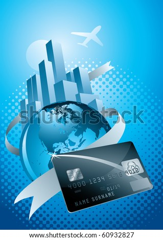 sphere world, credit card, city and flight. Vector illustration.