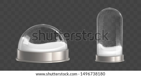 Spherical and bell shaped, empty snowballs, waterglobes with flying inside snowflakes, shiny glass and glossy metallic, round base isolated 3d realistic vector illustration. Christmas souvenir mockup