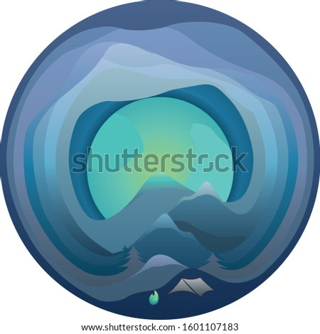 Spherical night camp vector for your creative works excellent material and excellent inspirer image.