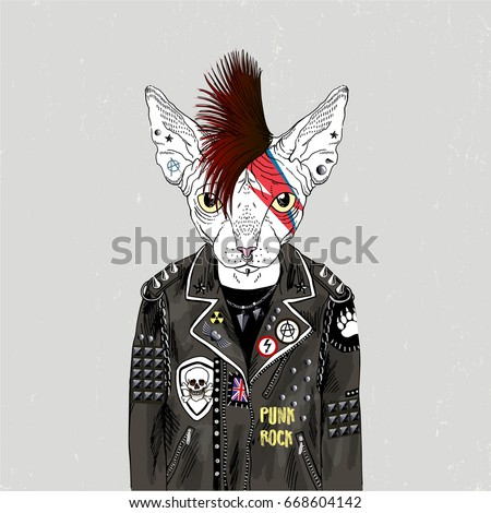 sphinx cat punk  furry art