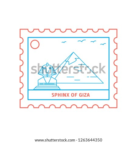 SPHINX OF GIZA postage stamp Blue and red Line Style, vector illustration