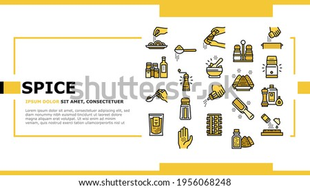 Spice Condiment Herb Landing Web Page Header Banner Template Vector. Salt And Pepper For Flavoring Meal In Kitchen Utensil. Spice On Spoon And Palm Illustration Stock photo ©