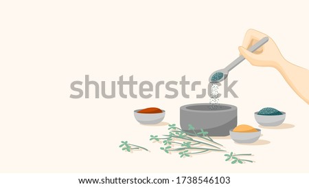 Spice ingredients mixing, making of herbal medicine. Hand spooning and sprinkling. Modern apothecary concept. Vector illustration. Flat design