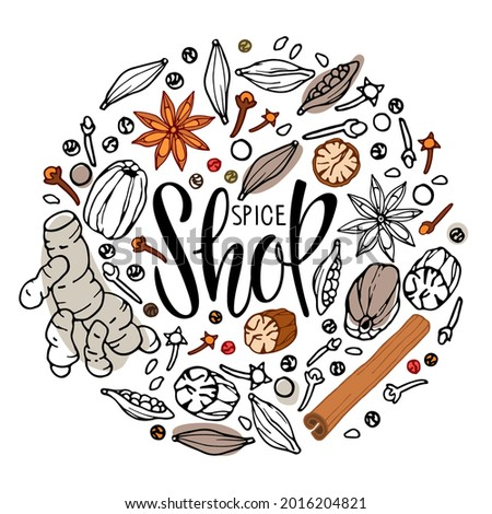 Spice Shop Logo. Round frame with Doodle Outline vector spices and lettering,. Flavor cooking ingredient. For farmers market, business, farm design, local shop packaging label, poster, sticker. Stockfoto ©