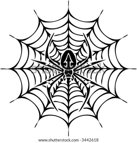 Spider  Tattoos on Stock Vector   Spider And Web   Tattoo Design  Ready For Vinyl Cutting