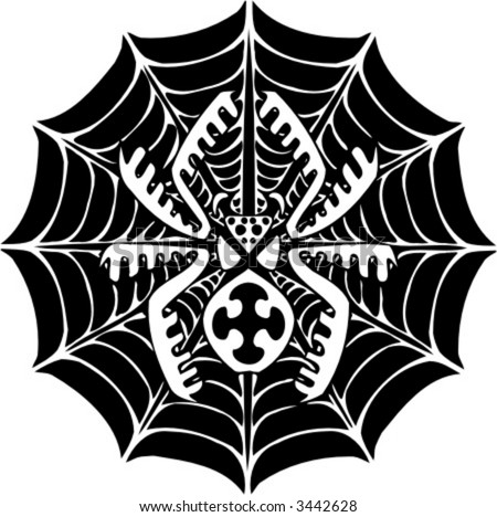 stock vector : Spider and Web - Tattoo Design. Ready for vinyl cutting.