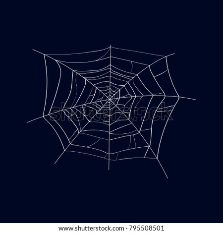 Spider cobweb isolated icon on dark background. Abstract design element for halloween holiday banners decoration, web silhouette vector illustration.