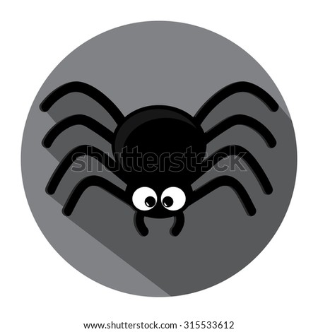 Spider icon with shadow . Flat design vector illustration