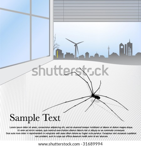 Spider in the interior with a view of town .