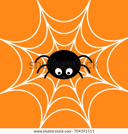 Spider on the web. Cobweb white. Cute cartoon baby insect character. Happy Halloween card. Flat design. Orange background. Vector illustration