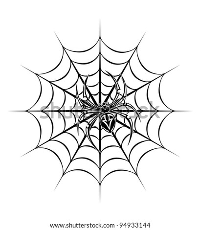spider on web for tattoo. Vector illustration
