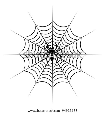 spider on web in tribal style for tattoo. Vector illustration
