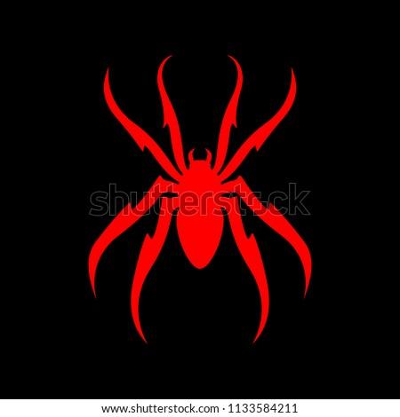Spider Red on Black. Vector illustraion