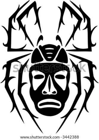 stock vector : Spider - Tattoo Design. Ready for vinyl cutting.