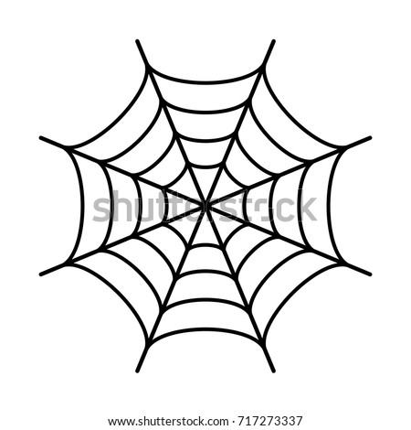 Spider web black silhouette icon on white background