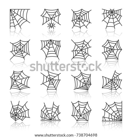 Spider web black thin line with reflection icon set. Cobweb vector isolated linear symbol pack. Spiderweb outline sign. Simple pictogram graphic collection. Textile, print, tag, banner, card design