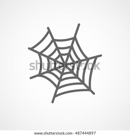 Spider Web Halloween Concept Flat Icon On White Background