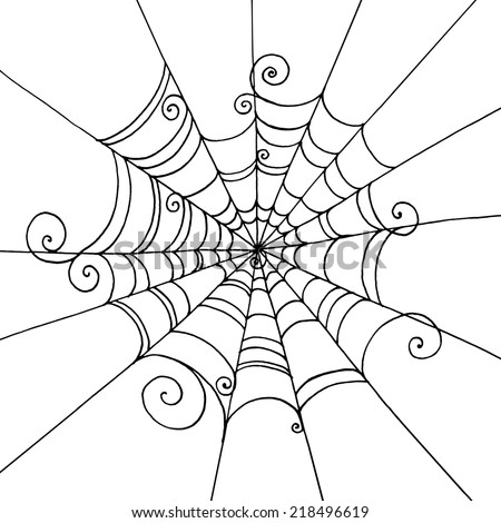 Spider Web hand-drawn on  isolated white background. Background for greeting card Halloween