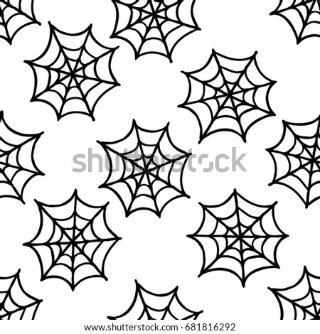 spider web seamless doodle pattern