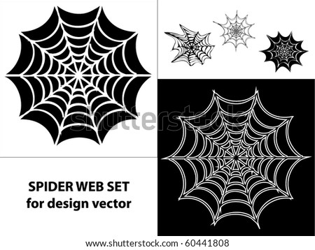Spider web set icons for design vector