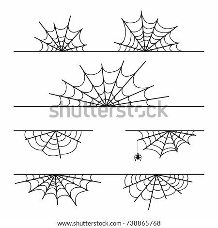 Spider web set isolated on background. Halloween cobweb design element for decoration. Black spider web silhouettes. Vector