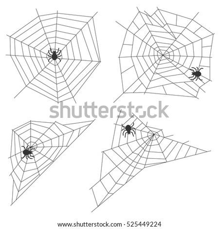 Spider web, set spider webs, cobweb image trap. Flat design, vector.