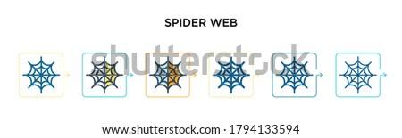 spider web vector icon in 6