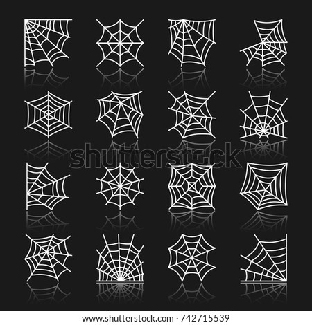 Spider web white thin line with reflection icon set. Cobweb vector isolated linear symbol pack. Spiderweb outline sign. Simple pictogram graphic collection. Textile, print, tag, banner, card design